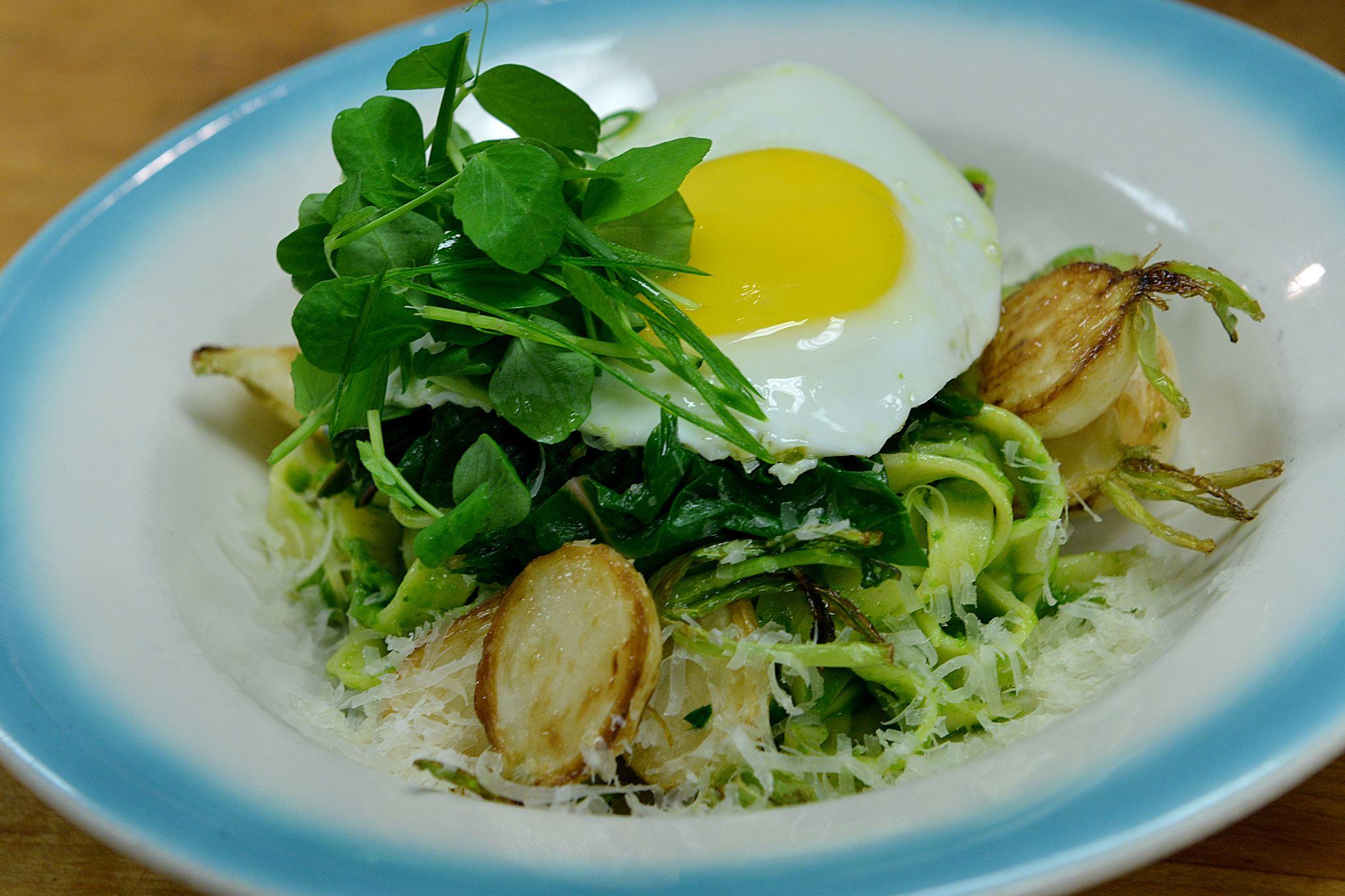 20140701lrlegumedine01 Spring onion pesto pasta at Legume restaurant in Oakland.