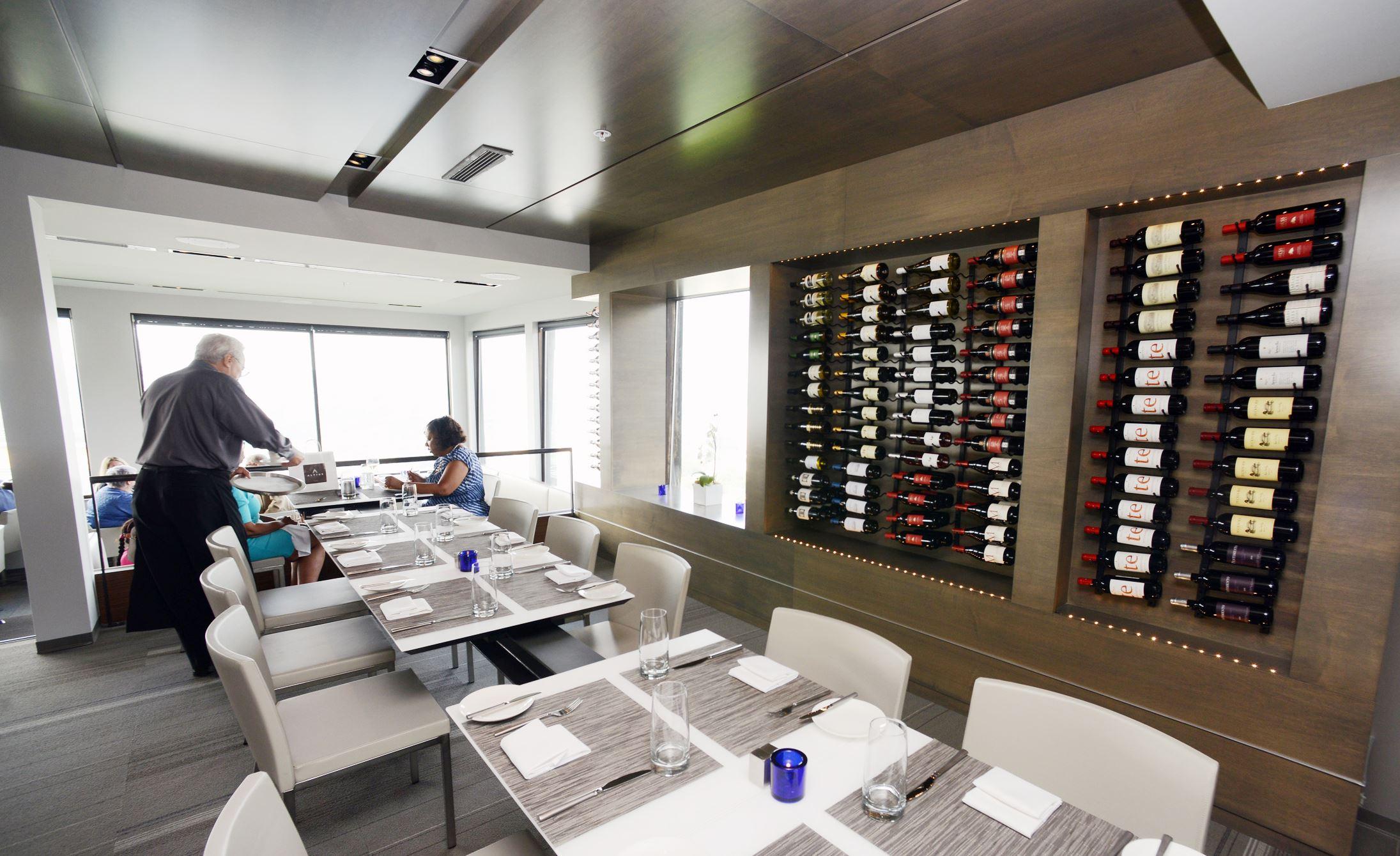 Altius restaurant and bar wine rack Altius restaurant and bar in Mt. Washington -- wine rack.