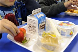 The Canon-McMillan School District has a policy that says students from kindergarten through sixth grade will lose their hot lunch and get a sandwich and fruit if their parents owe more than $25.