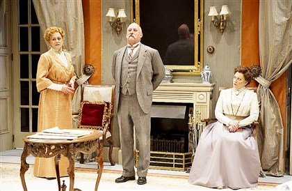 "SHAWTOUR0706 Typifying the fine Shaw Festival casts are (left to right) Fiona Reid, Jim Mezon and Laurie Paton in ""The Charity That Began at Home."""