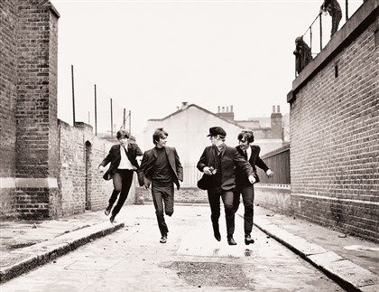 "20140704HOHardDays From left, Paul McCartney, George Harrison, Ringo Starr and John Lennon star in Richard Lester's ""A Hard's Day's Night."""