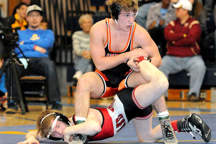 9lu00knm.jpg Greater Latrobe's Luke Pletcher defeated Parkland's Ethan Lizak, 3-2, at the Powerade Christmas Tournament in December to win the 120-pound weight class title.