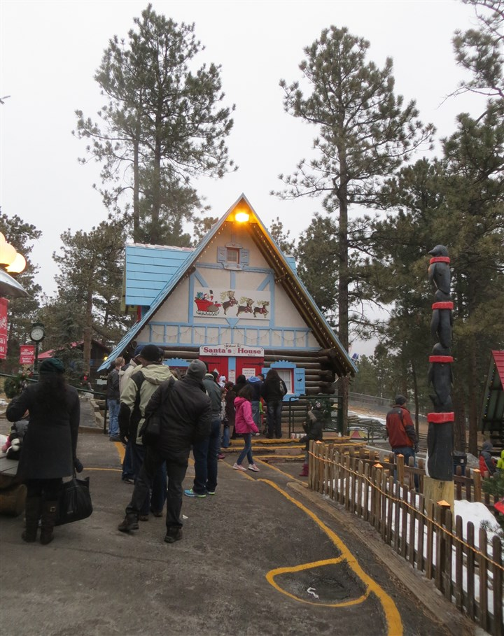 North Pole Home of Santa's Workshop The line to greet Santa during the 2013 holiday season at North Pole Home of Santa's Workshop.