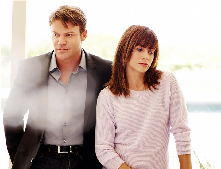 "Matt Passmore and Stephanie Szostak in ""Satisfaction.""  Matt Passmore as Neil Truman, Stephanie Szostak as Grace Truman in ""Satisfaction."""