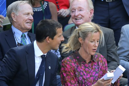 golf's Jack Nicklaus and tennis' Rod Laver Two of the greats in their respective sports, golf's Jack Nicklaus, rear left, and tennis' Rod Laver, rear right, were guests in the Royal Box Friday at Wimbledon for the men's semifinals between Novak Djokovic and Grigor Dimitrov.