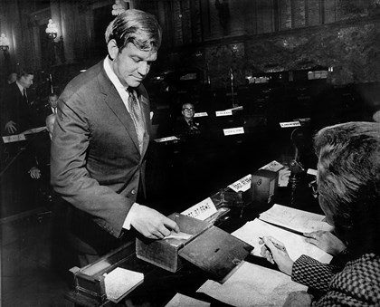 Richard M. Scaife, one of 27 Republican presidential electors Richard M. Scaife, one of 27 Republican presidential electors, casts his ballot for Richard M. Nixon in 1972 during a meeting of the electoral college in Harrisburg.