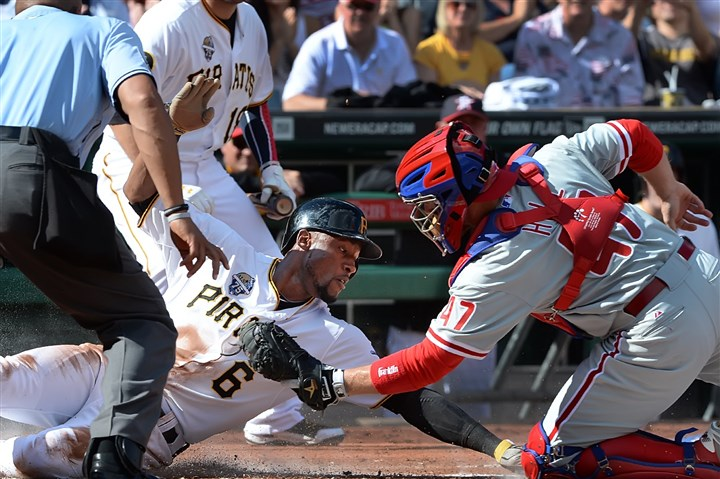 Phillies catcher Koyie Hill tags out Starling Marte Phillies catcher Koyie Hill tags out Starling Marte at the plate, but that was about the only that went wrong for the Pirates in the first inning when they jumped to a 4-0 lead.