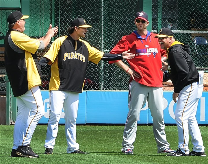 AJ Burnett was able to catch up with Pirate friends Before the Phillies-Pirates series opener Friday at PNC Park, A.J. Burnett was able to catch up with, from left, Jim Benedict, Jeff Locke and pitching coach Ray Searage.