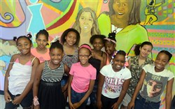 From left, front row, Ezzynce, 9, DeLana, 9, Tahira, 8, Shakyna, 10, Au'Nae, 11, and back row, Rylee, 12, Jordan, 11, Rayquel, 13, Loren, 12, and Victory, 11, at Gwen's Girls.