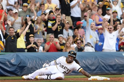 Pittsburgh Pirates Andrew McCutchen 2014 triple Andrew McCutchen and the fans had plenty to smile about after his Sunday triple and the team's sweep of the Phillies.