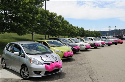 20140706CMLyftProtestLocal005-4 Lyft cars line up in a parking lot at the Waterfront in Homestead on July 6 to prepare to parade around town in a showing of solidarity.