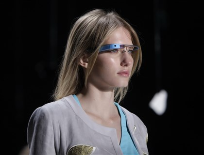 Google Glass featured in Diane Von Furstenberg Spring 2013 runway show A model wearing the original Google Glass design in the Diane von Furstenberg spring 2013 collection at Mercedes-Benz Fashion Week in New York City.