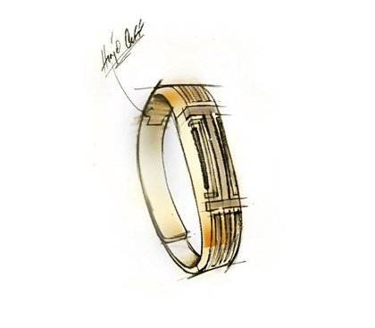 Tory Burch for Fitbit Sketch of bracelet by Tory Burch for fitness-tracking brand Fitbit from a collection coming soon.