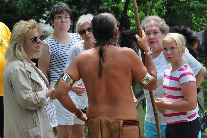 "20140706lrnativeamerianlocal02-1 ""Ghost in the Head"" talks about native American life on the Pittsburgh frontier during an appearance at the Monroeville historical houses, July 6, 2014."
