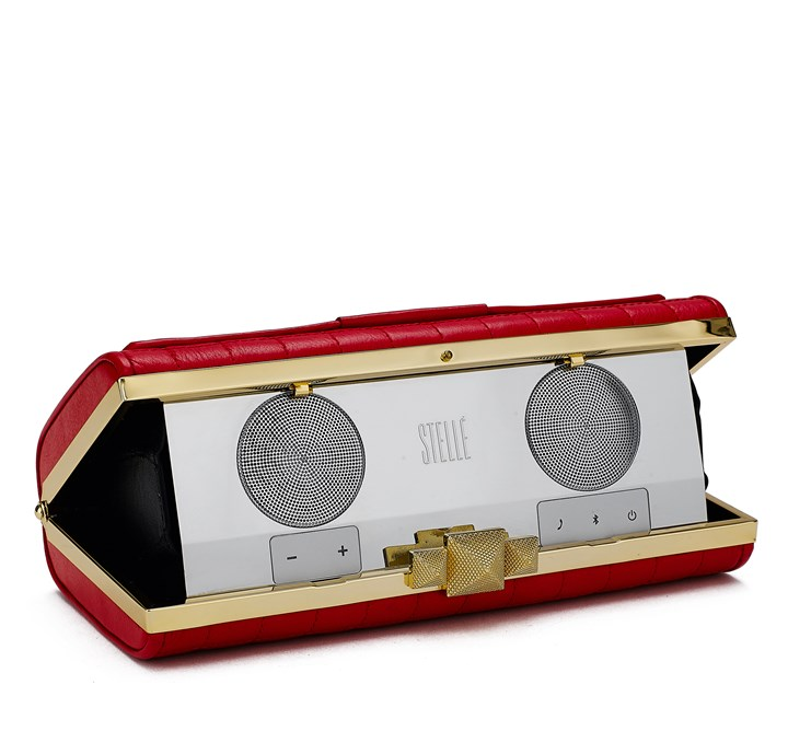 Interior of Stelle audio clutch by Rebecca Minkoff Interior of Stelle audio clutch by Rebecca Minkoff.