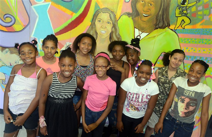 Gwen'sGirls From left, front row, Ezzynce, 9, DeLana, 9, Tahira, 8, Shakyna, 10, Au'Nae, 11, and back row, Rylee, 12, Jordan, 11, Rayquel, 13, Loren, 12, and Victory, 11, at Gwen's Girls.