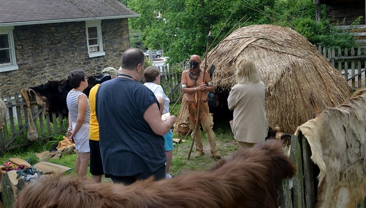"20140706lrnativeamerican15-1 ""Ghost in the Head"" talks about native American life on the Pittsburgh frontier during an appearance at the Monroeville historical houses, July 6, 2014."