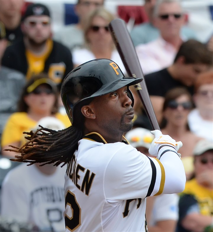 20140707pdPiratesSports05-5 Andrew McCutchen triples on fan interference. Josh Harrison scores.