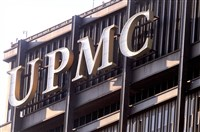 The UPMC logo atop the U.S. Steel Tower Downtown.