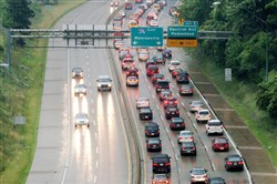 File photo showing traffic of the outbound Parkway East towards the Squirrel Hill tunnel.