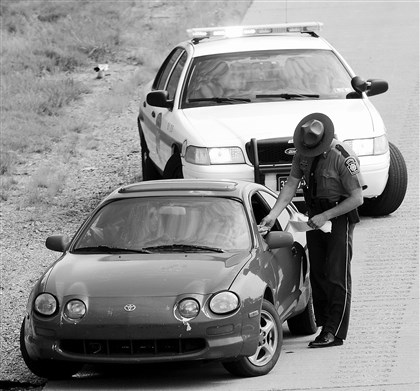 20140707radSpeedEnforcementLocal01 A Pennsylvania State Trooper pulls over a car from Kentucky Monday and cites the driver for traveling 18 miles per hour over the posted 55 mph limit on I-79 southbound between the Bridgeville and Southpointe exits.