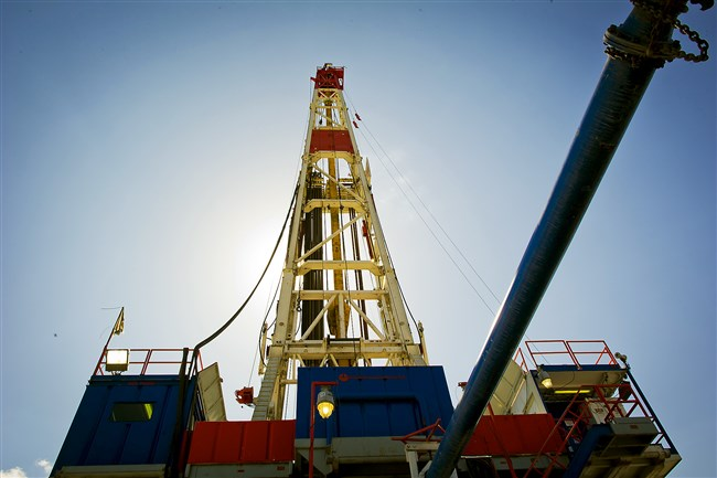 Gas drilling rig explores the Marcellus Shale outside Waynesburg, Greene County, in 2012.