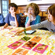 Children play Fit Wits From left, Sebastian Wilburn, 5, Matteo Wilburn, 8, Oona Shaw, 9, and Imogen Shaw, 6, play FitWits.