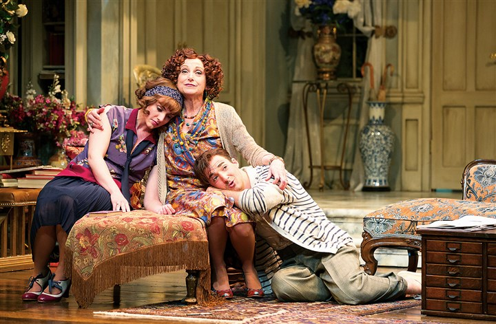 """Hay Fever"" at the Stratford Festival In her theatrical way, Lucy Peacock as Judith (center), embraces her children, Sorel and Simon (Ruby Joy and Tyrone Savage), in ""Hay Fever"" at the Stratford Festival."