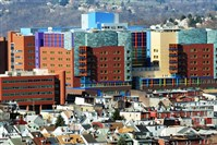 A shot from the Hill District overlooks the Children's Hospital in Lawrenceville. Unlike many other sectors, job cuts at Western Pennsylvania hospitals have continued since the 2008 recession, with regional hospitals collectively reporting a sixfold increase in reductions last fiscal year.