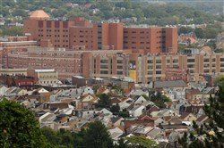 The West Penn Hospital complex looms over Bloomfield.