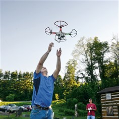 Max Richardson of Sewickley Max Richardson, 48, of Sewickley shows how a quadcopter drone can be caught.