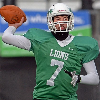 9l800kge.jpg South Fayette quarterback Brett Brumbaugh finishes this season with 3,897 yards to break the WPIAL single-season passing record.