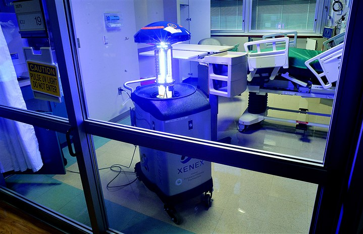 """Violet,"" UPMC's disinfecting robots  ""Violet,"" the latest of UPMC's collection of disinfecting robots which uses ultraviolet light to sanitize a hospital's operating and patient rooms, is demonstrated at UPMC Passasvant."