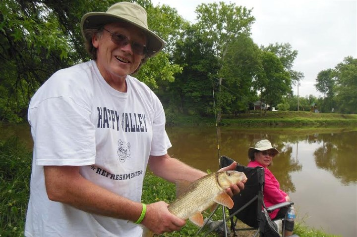 20140709hoOutdoorsspts Dave Hartnett of Bellefonte caught this 19-inch redhorse sucker at the Shaw's Landing access on French Creek. Redhorses require clean moving water -- their presence indicates a high-quality and stable stream ecosystem.
