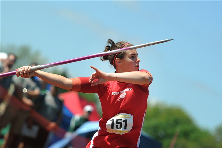 9po00koh.jpg Fort Cherry's Jenna Lucas set a school record in the javelin throw on her way to her second consecutive PIAA Class AA title.