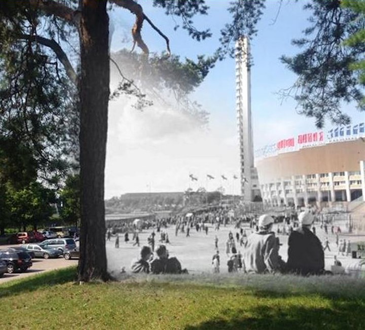 Photo app Timera  Photo app Timera combines historic and present-day photographs on smartphones. Shown: Helsinki in 1956 and 2014.