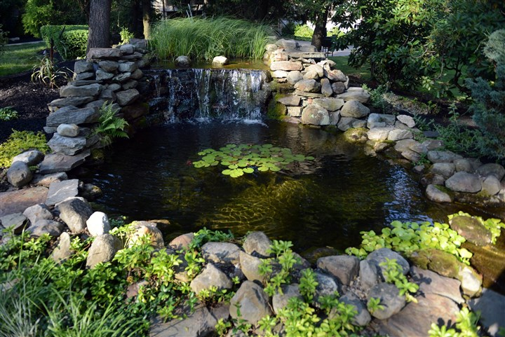 20140709MWHgardenMag04-3 Rocks line the perimeter of the pond in the backyard garden of Stacey and Andy Rhodes of Mt. Lebanon.
