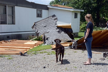 Olivia Lough holds her dog Elka's leash Olivia Lough holds her dog Elka's leash as they look at the roof that was blown off their home on Walnut Street in Jackson Center, Mercer County. Olivia said Elka was the only one home at the time of the tornado.