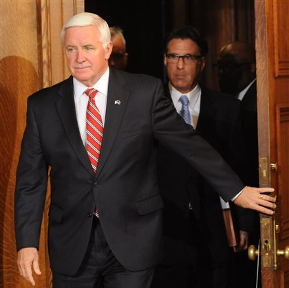 Corbett enters to sign budget Pennsylvania Gov. Tom Corbett.