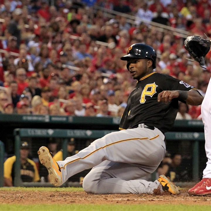 Gregory Polanco scores on a passed ball  Gregory Polanco scores on a passed ball as St. Louis Cardinals relief pitcher Tyler Lyons covers home during a game Thursday in St. Louis.