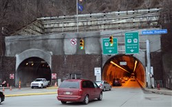 The Liberty Tunnels will be reduced to one lane in each direction tonight and Tuesday night for cleaning work.