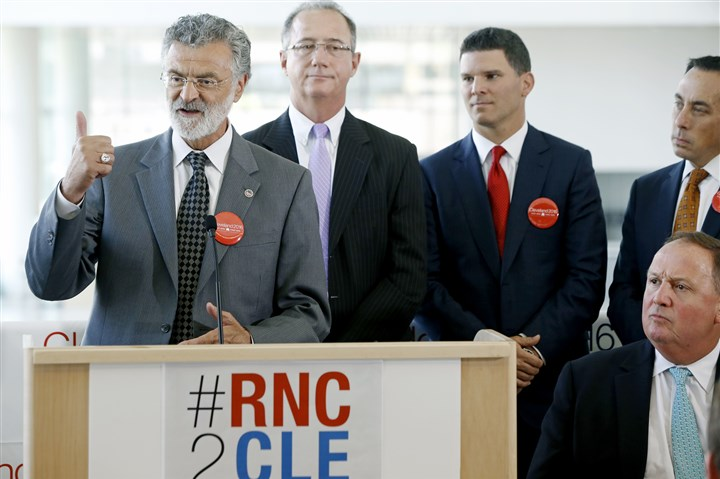 Cleveland Mayor Frank Jackson  Cleveland Mayor Frank Jackson addresses the media Tuesday at the Global Center for Health Innovation in downtown Cleveland while announcing that the Republican National Site Selection Committee recommended Cleveland as the site for the 2016 RNC Convention.