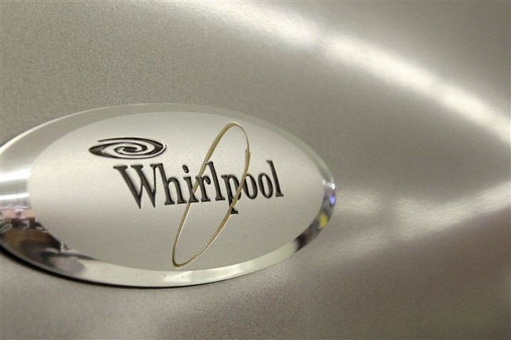 Whirlpool Indesit FILE - This July 20, 2009 file photo shows the Whirlpool logo on a refrigerator for sale at the Sears Grand store in Solon, Ohio. Whirlpool on Friday, July 11, 2014 announced it will pay more than $1 billion for a controlling stake in Indesit, the appliance maker's counterpart in Italy. (AP Photo/Amy Sancetta, File)