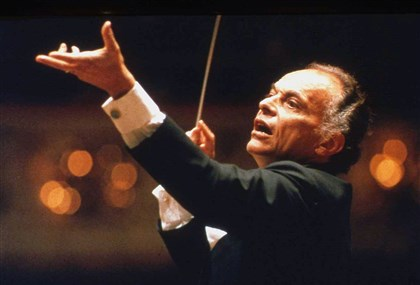 20140713fileLorinMaazelLocal01-1 Lorin Maazel conducting the Pittsburgh Symphony Orchestra, circa 1990.
