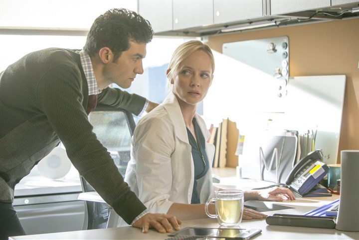 "TheLottery David Alpay and Marley Shelton in ""The Lottery."""