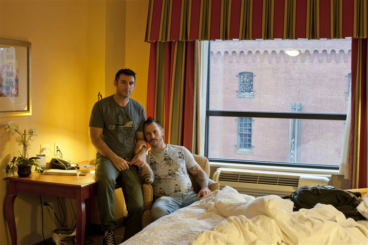 "SILVEREYE0716c-2 ""Richard and Seth, Hotel Room Portrait"" in Pittsburgh, part of ""Here & Now: Queer Geographies in Contemporary Photography"" at Silver Eye Center for Photography."