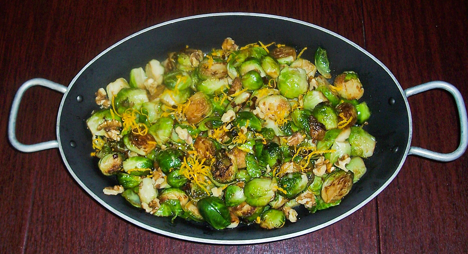 20140714rbbrusselsfood Sauteed Brussels Sprouts with Orange and Walnut.