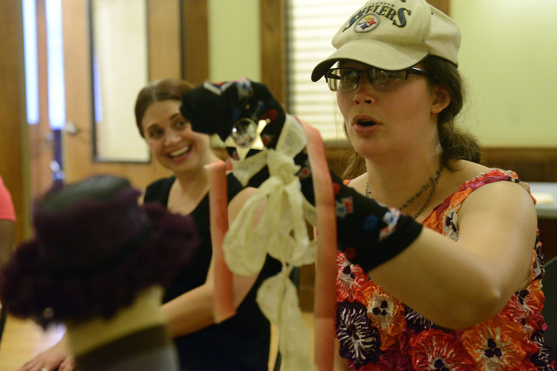 Robyn McKee, 27, of Plum rehearses with her puppet for an upcoming performance at the Union Project.