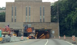 A view of the Squirrel Hill Tunnel on the Parkway East in Pittsburgh.
