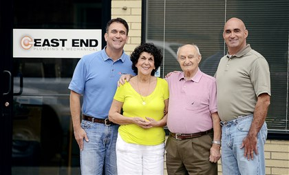 20140715RARbizplumbing East End Plumbing and Mechanical in Sharpsburg has been a family business for 57 years. Left to right, Anthony Mascilli; his mother, Florinda; father, Art Sr.; and brother, Arthur Jr. The sons have plans to move operations to Richland in the near future.